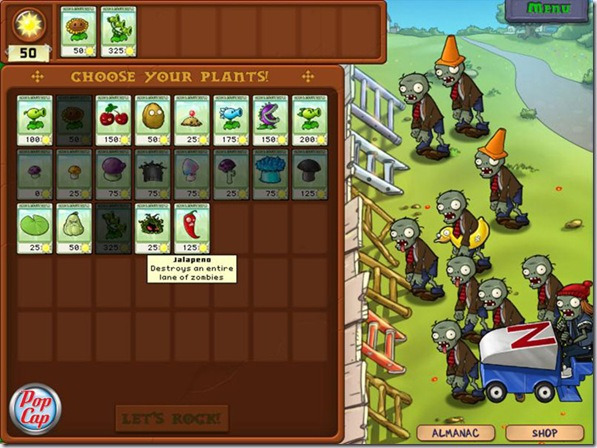 Plants VS Zombies seed selection