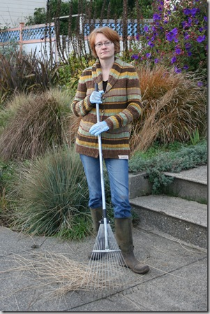 Amy grouchy about the old-style rake